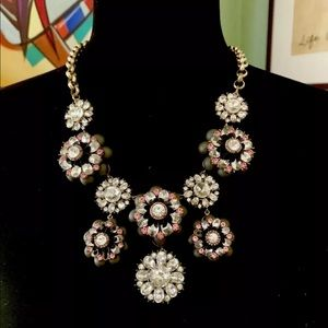 Ann Taylor Flower Necklace Grey Pink & Rhinestone
